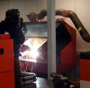 BBC filming Chris weld testing