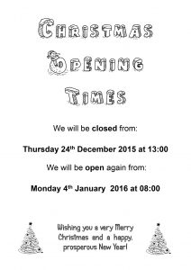 Opening Times 2015