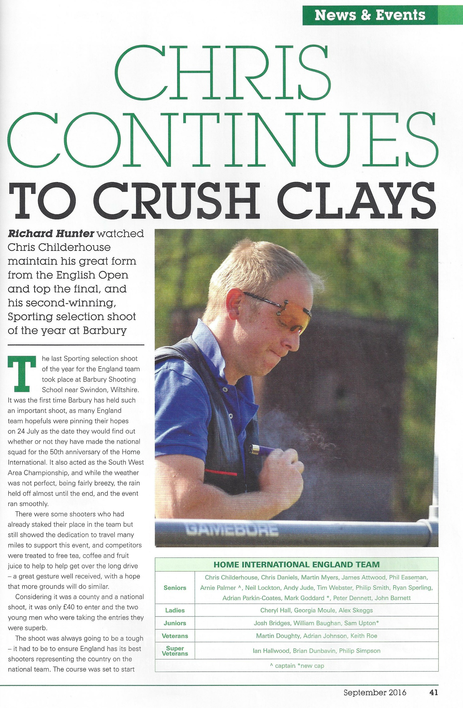 Clay Shooting magazine article featuring Charlie - First Page
