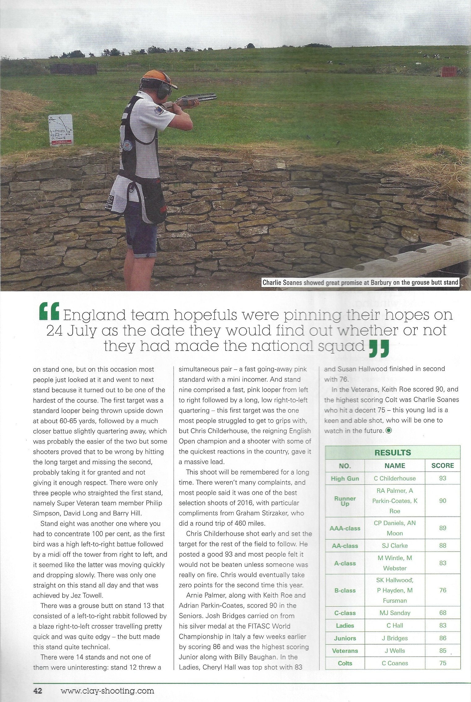 Clay Shooting magazine article - Second Page
